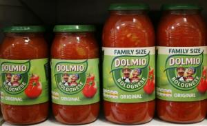 Dolmio pasta sauces are seen in a store in in London