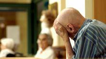 Germany Berlin Friedrichshain (Friedrichshain-Kreuzberg) - An old man suffering from Alzheimer's disease at the nursing home 'Dr. Harnisch'